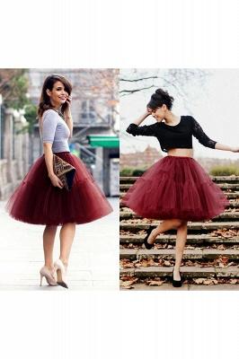 Elegant Tulle Short Ball-Gown Knee Length Elastic Women Skirts_44