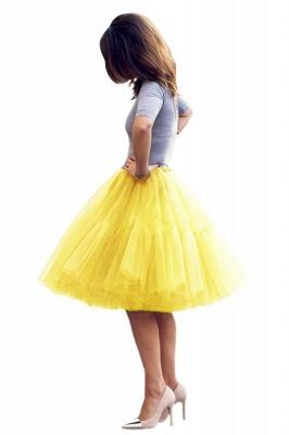 Elegant Tulle Short Ball-Gown Knee Length Elastic Women Skirts_41