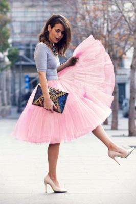 Elegant Tulle Short Ball-Gown Knee Length Elastic Women Skirts_30
