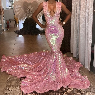 Colorful Straps V-neck Sleeveless Sequined  Mermaid Prom Dresses | Floor Length Ruffles Evening Dresses_2