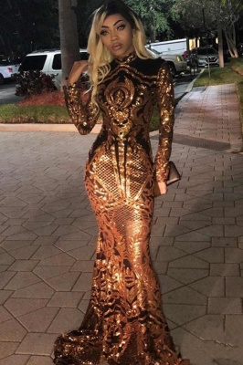 Golden High Neck Long Sleeve Sequined Mermaid Prom Dresses | Fitted And Flare Evening Dresses_2