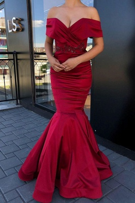 Burgundy Sweetheart Off The Shoulder Beading Floor Length Mermaid Prom Dresses_1