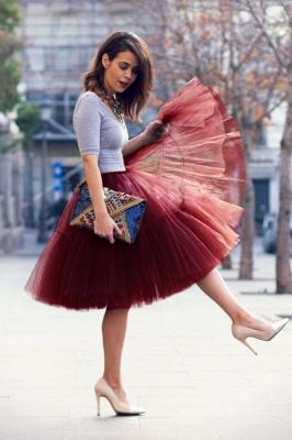 Elegant Tulle Short Ball-Gown Knee Length Elastic Women Skirts_45