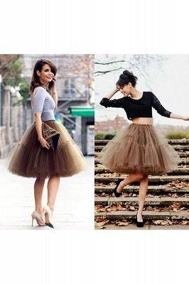 Elegant Tulle Short Ball-Gown Knee Length Elastic Women Skirts_73