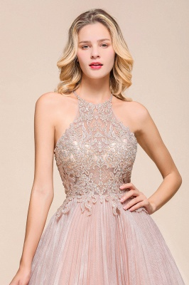 Pink Halter Lace Applique Lace A Lline Short Homecoming Dresses | Beackless Cocktail Dresses_7