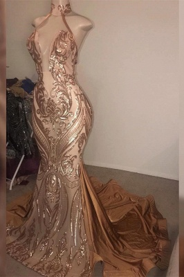 High Neck Sleeveless Sheer Metallic Fit and Flare Prom Dreses_1