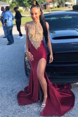 Alluring Halter Sleeveless Applique Side Slit Mermaid Prom Dresses | Sexy Evening Dresses_1