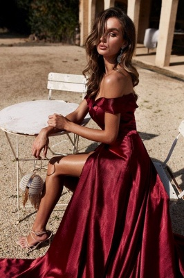 Burgundy Off The Shoulder Front Slit Cheap Mermaid Prom Dresses | Sexy Fitted Party Dresses_3