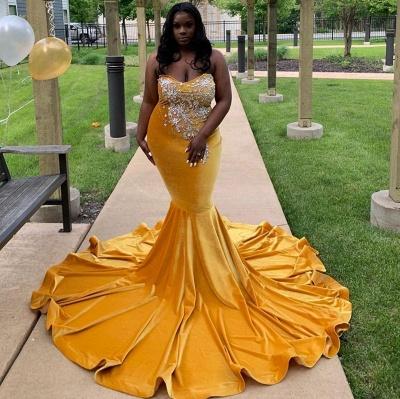 Strapless Yellow Velvet Appliques Mermaid Prom Dresses_3