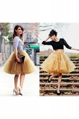 Elegant Tulle Short Ball-Gown Knee Length Elastic Women Skirts_48