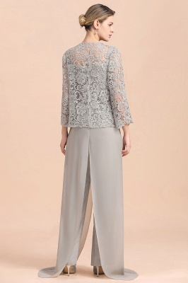 Elegant Silver Chiffon Mother of Bride Pants Suits with Lace Jacket_3