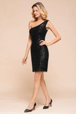 Black One Shoulder Sequined Sheath Homecoming Dresses | Short Cocktail Dresses_8