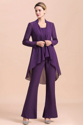 Grape Chiffon Mother of Bride Jumpsuit with Long-Sleeve Jacket_7