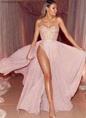 Pink Sweetheart Strapless Applique Beaded Front Slit Floor Length A Line Prom Dresses | Sexy Cheap Evening Dresses_4