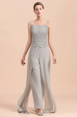 Elegant Silver Chiffon Mother of Bride Pants Suits with Lace Jacket_10