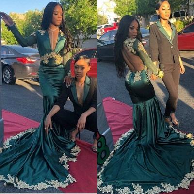 Dark Green Long Sleeve V Neck Backless Applique Mermaid Pom Dresses_3