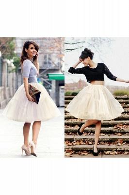 Elegant Tulle Short Ball-Gown Knee Length Elastic Women Skirts_64