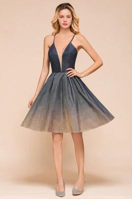 Sexy Spaghetti Strap V-neck Ruffles Short Knee Length Homecoming Dresses | Criss Cross Graduation Dresses_5
