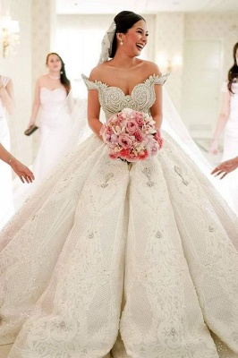 Luxury Off-the-shoulder Applique Beading Jewel Ball Gown Wedding Dresses | Lace Ruffles Bridal Gown_1