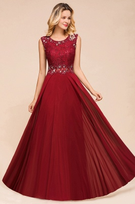 Burgundy Jewel Sleeveless Applique Lace Floor Length Prom Dresses | Beading Cheap Party Dresses_6