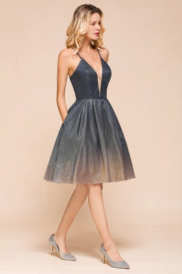 Sexy Spaghetti Strap V-neck Ruffles Short Knee Length Homecoming Dresses | Criss Cross Graduation Dresses_7