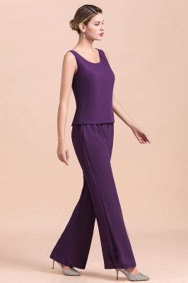 Grape Chiffon Mother of Bride Jumpsuit with Long-Sleeve Jacket_10