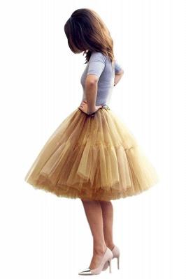 Elegant Tulle Short Ball-Gown Knee Length Elastic Women Skirts_47