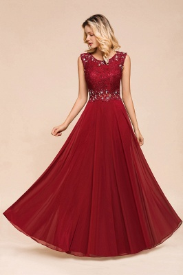 Burgundy Jewel Sleeveless Applique Lace Floor Length Prom Dresses | Beading Cheap Party Dresses_5