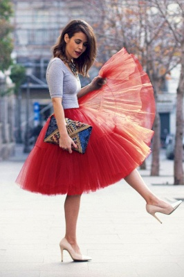 Elegant Tulle Short Ball-Gown Knee Length Elastic Women Skirts_27