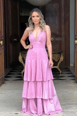 Straps V Neck Sequined A-line Floor Length Prom Dresses   Tiered Backless Evening Dresses_1