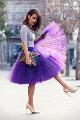 Elegant Tulle Short Ball-Gown Knee Length Elastic Women Skirts_70