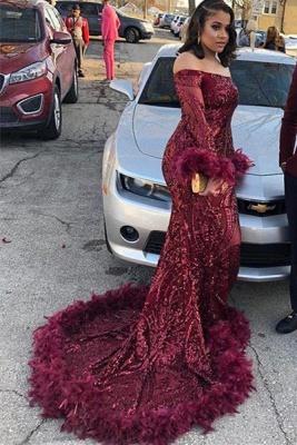 Off the Shoulder Long Sleeves Burgundy Mermaid Prom Dress_2