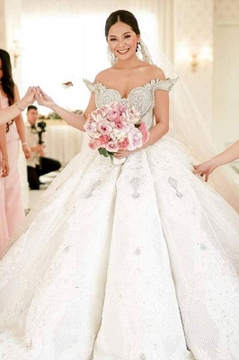 Luxury Off-the-shoulder Applique Beading Jewel Ball Gown Wedding Dresses | Lace Ruffles Bridal Gown_2
