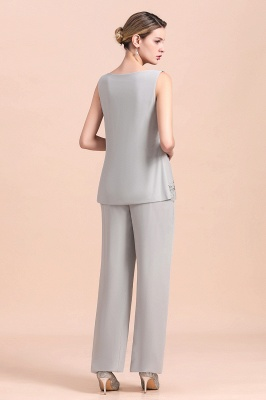Grey Chiffon Mother of Bride Pant Suits with Half Sleeves Long Jacket_6