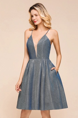 Spaghetti Strap V Neck Sequined Criss Cross A Line Short Homecoming Dresses_6