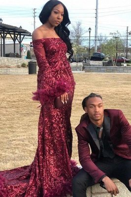 Off the Shoulder Long Sleeves Burgundy Mermaid Prom Dress