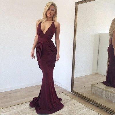 Burgundy Halter Sleeveless Ruffles Mermaid Prom Dresses | Deep V Neck Evening Gown_2