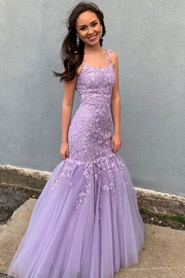 Purple Strapless Sleeveless Applique Lace Mermaid Prom Dresses | Ruffles Floor Length Evening Dresses