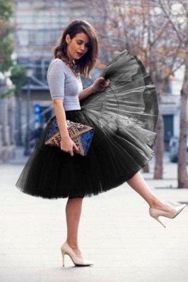 Elegant Tulle Short Ball-Gown Knee Length Elastic Women Skirts_40