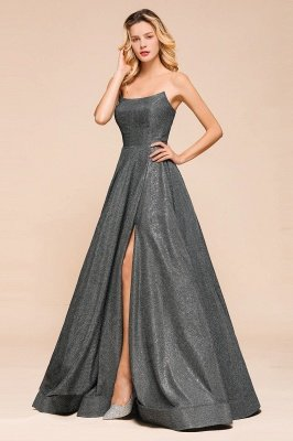 Attractive Strapless Front Slit A Line Prom Dresses | Criss Cross Sequined Evening Dresses_6
