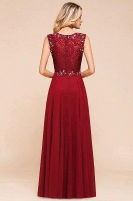 Burgundy Jewel Sleeveless Applique Lace Floor Length Prom Dresses | Beading Cheap Party Dresses_3