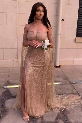 Deep V-neck Off The Shoulder Front Slit Sequined Backless Prom Dresses | Fitted And Flare Evening Dresses_2