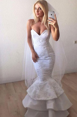 Sweetheart Backless Applique Lace Mermaid Wedding Dresses | Sexy Tiered Bridal Gown_1