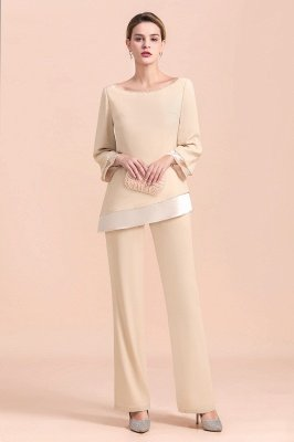 Champagne Bateau  3/4 Sleeves Chiffon Mother of Bride Pant Suits_6