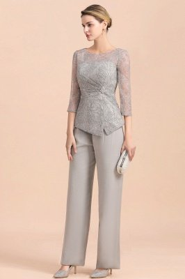 Elegant Smokey Blue Round Neck Half Sleeves Lace Mother of Bride Pants Suits_6