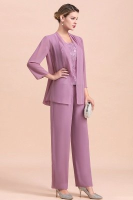 Lilac Chiffon Cheap Mother of Bride Pant Suits with Half Sleeves Jacket_5