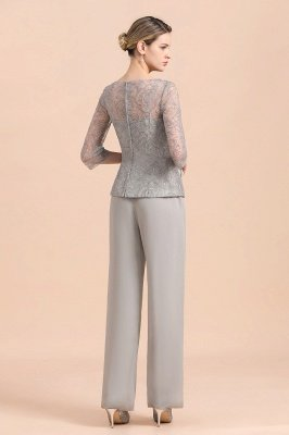Elegant Smokey Blue Round Neck Half Sleeves Lace Mother of Bride Pants Suits_3