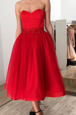 Sexy Red Sweetheart Sleeveless Applique A-line Tea-length Prom Dresses_1