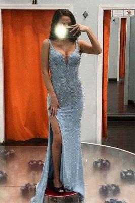 Brilliant Blue Straps V Neck Sequined Front Slit Floor Length Sheath Prom Dresses | Sleeveless Evening Dresses_1