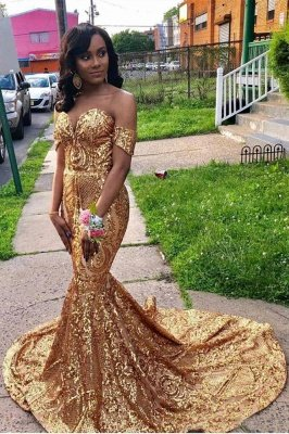 Golden Sweetheart Off The Shoulder Applique Sequined Mermaid Prom Dresses | Fitted And Flare Evening Dresses